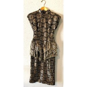 Vintage gold and black floral formal dress